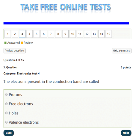 Take free online tests on electronics, computers, and physics