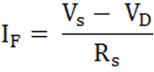 Forward current in LED formula